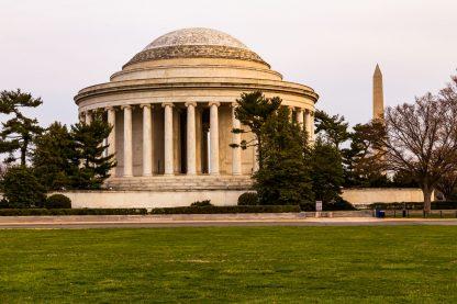 Jefferson Memorial at Sunrise, Washington Monument in background