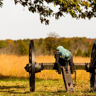Civil War Canon shown from behind, Manassas Battlefield Park