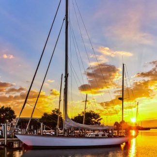 Chesapeake Bay at Annapolis City Dock - Sailboat at Sunrise