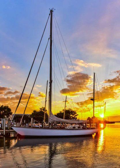Chesapeake Bay at Annapolis City Dock – Sailboat at Sunrise