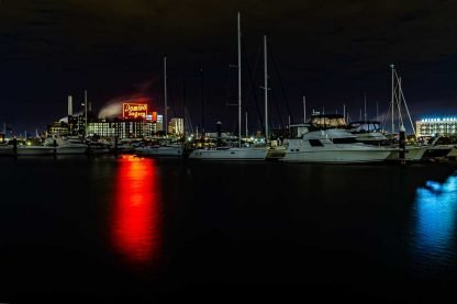 Baltimore Inner Harbor at Night – Domino Sugar Sign