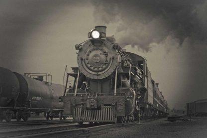 Steam engine train approaching, B&W retro look