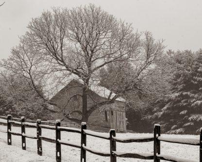 Steppingstone Farm Museum Corn Bin on a snowy morning