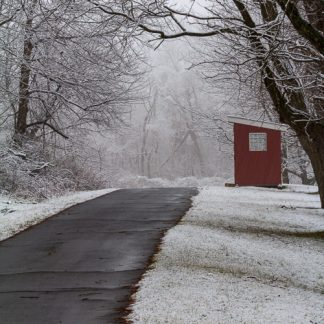 Entry point to the Steppingstone Farm Museum in the snow