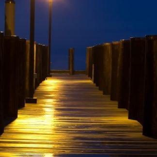 Dock aglow at night